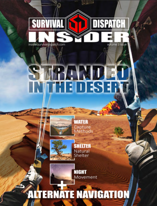 plan crashed in the desert with man parachuting for survival guide cover