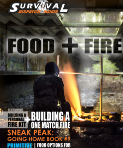 man cooking food with a fire for survival guide magazine cover