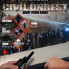 mass group of people and cops in riot gear for civil unrest survival guide cover