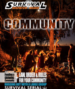 people huddled around a campfire next to trees for community survival guide cover
