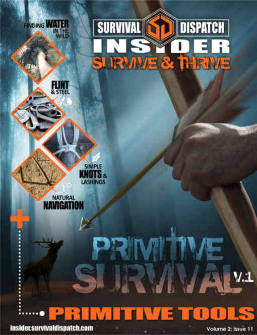 man shooting an arrow at a buck for primitive survival guide cover