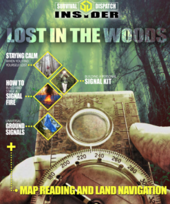 a hand holding a compass in the woods for navigation survival guide cover