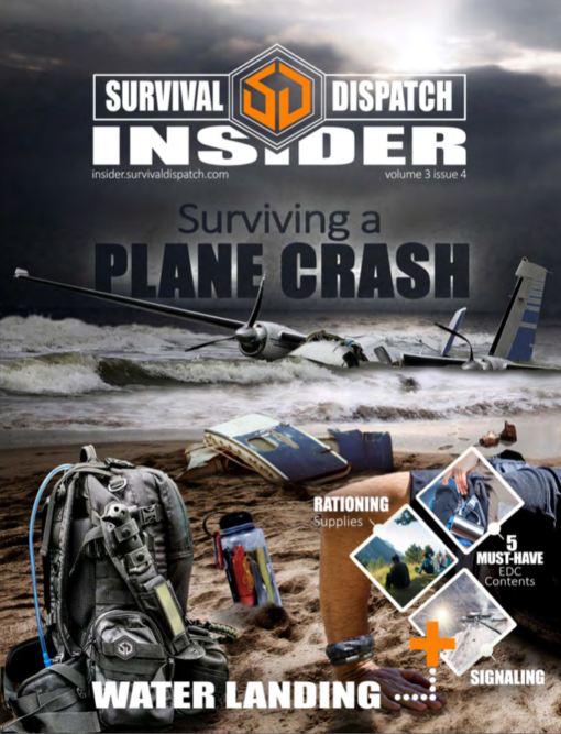 water bottle next to a bug out bag on a beach with plane crashed in ocean survival guide