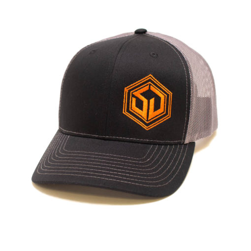 black and grey survival dispatch trucker hat