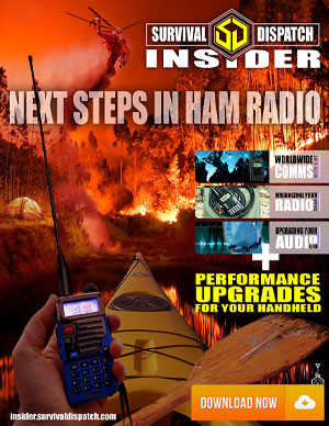 Ham Radio Survival Guide with walkie talkie in a canoe and fire