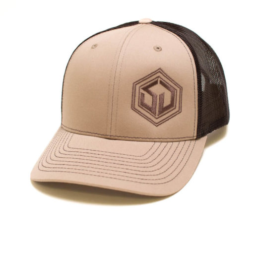 survival trucker hat with tan front and coffee mesh