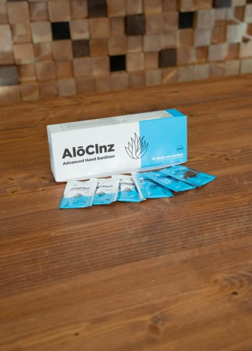 AloClnz Single Use Hand Sanitizer Box of 50
